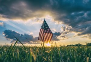 American flag in field