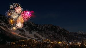 Independence Day fireworks over mountains
