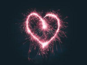 Heart shaped fireworks